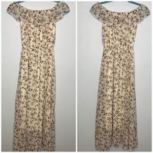 Peyton Bre cream floral off shoulder maxi dress